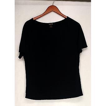 Iman Top Short Sleeved Scoop Neck Trim Detail Dark Black Womens 460-386