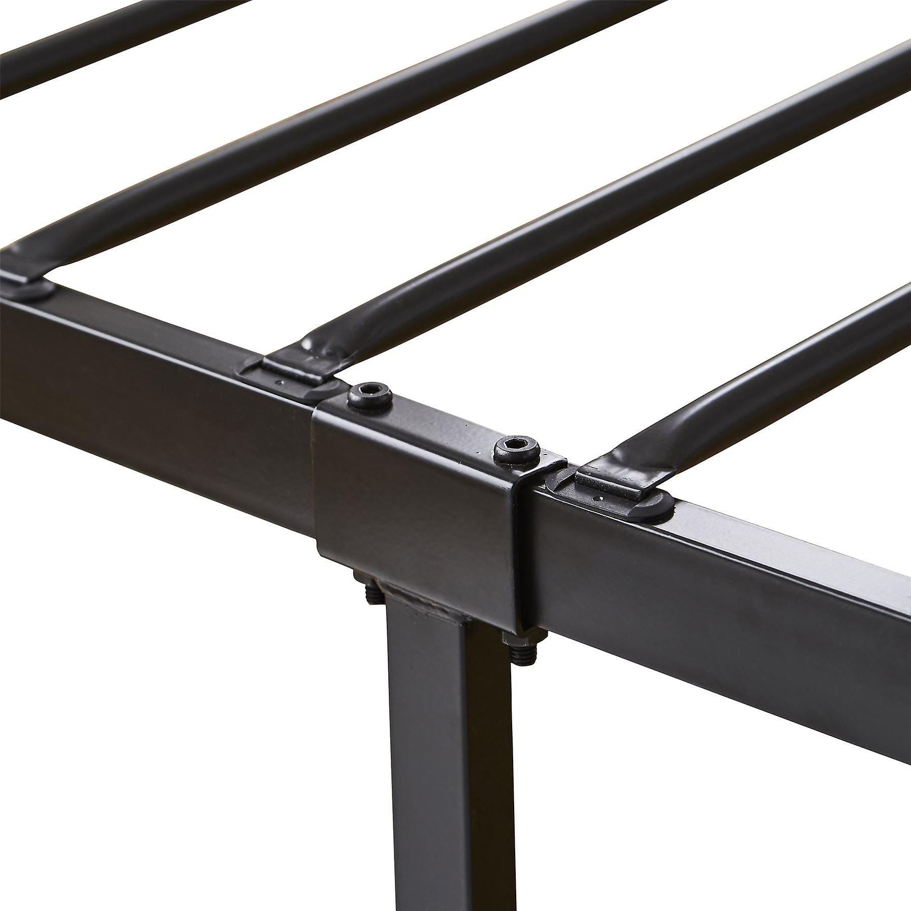 Extra Strong Single Metal Bed Frame with Rounded Head and Foot Board In Black