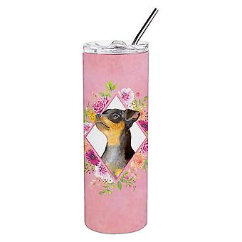 Black Miniature Pinscher Pink Flowers Double Walled Stainless Steel 20 oz Skinny
