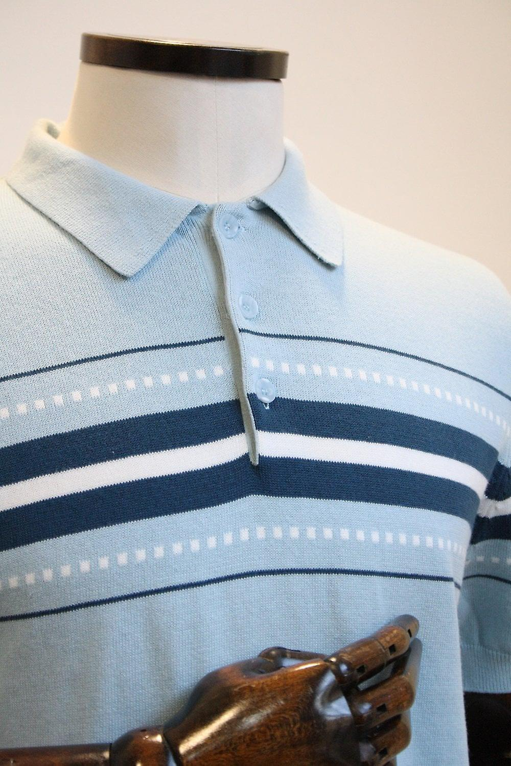 Merc London Tanner Sky Blue Knitted Polo Shirt