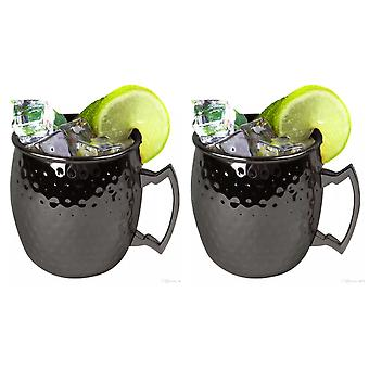 Noir de Kabalo Moscow Mule Mug Set de 2 baril Cocktail Style Tankard coupe cuisine Barware