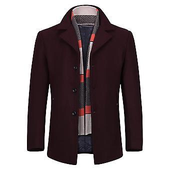 Allthemen Men's Solid Warm Single-Breasted Wool Blend Overcoat&Scarf