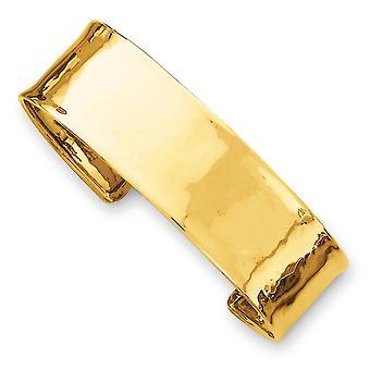 14k Gelb Gold Manschette Solid 19mm leicht gehämmert poliert Armreif - 16,2 Gramm
