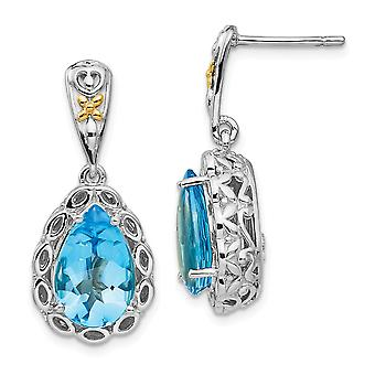 925 Sterling Silver Polished Prong set Post Earrings With 14k Blue Topaz Earrings Jewelry Gifts for Women