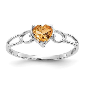 10k White Gold Polished Citrine Ring Size 6 Jewelry Gifts for Women