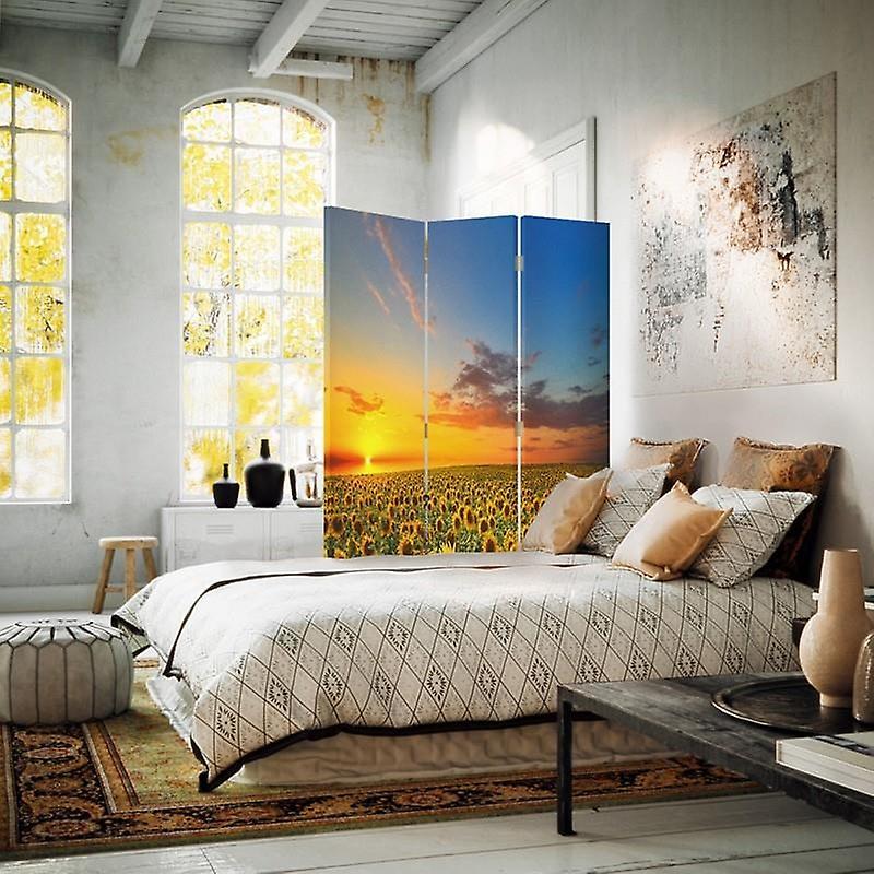 Diviseur de chambre, 3 panneaux, double-côté, toile, paysage avec des tournesols