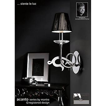 Acanto Wall Lamp Switched 1 Light E14, Polished Chrome With Black Shade