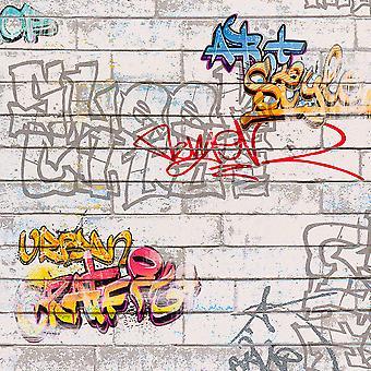 Vit graffiti tapet som Creation 93561-1