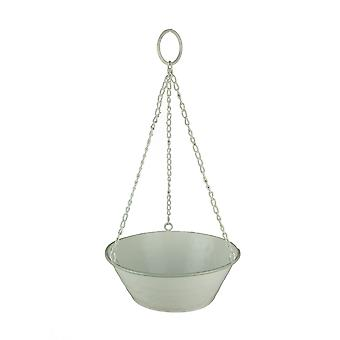 White Enamel Metal Bowl Hanging Planter