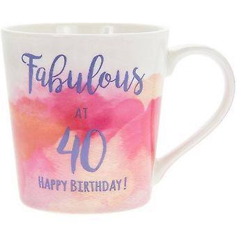 Lesser & Pavey Watercolour Happy Fabulous 40th Mug