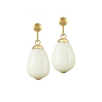 Ewige Kollektion Fontana weiße Jade Goldton Drop Clip auf Ohrringe