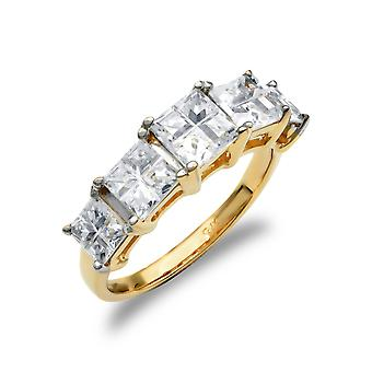 Jewelco London Ladies Solid 9ct Yellow Gold White Square Cubic Zirconia Illusion Princess Cut Eternity Ring