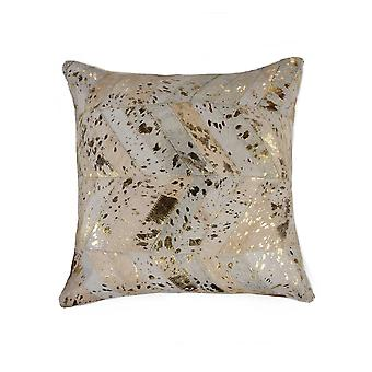 """18"""" x 18"""" x 5""""  Natural and Gold  Pillow"""