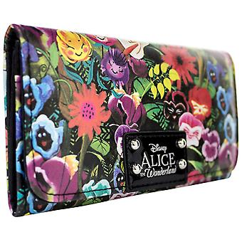 Disney Alice In Wonderland kwiatowy monet idealna torebka Tri-Fold karty