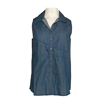 Kelly by Clinton Kelly Women's Top Button Front Sleeveless Blue A279082 #1