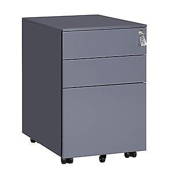 Metallschublade mit abschließbarer Schublade-3 Schubladen-schwarz, grau, weiß oder blau/weiß