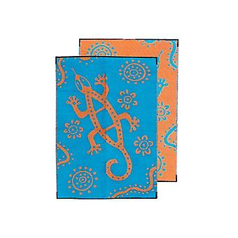 Sand Goanna Aboriginal Design Recycled Mat Teal And Orange