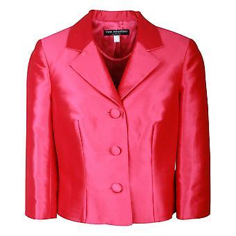 Ronald Joyce Cerise Three Quarter Sleeve Silk Jacket