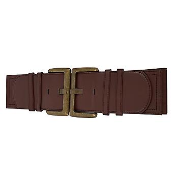 Brązowy elastyczny pas w pasie z vintage klamry i prasy Studs Zamknięcia