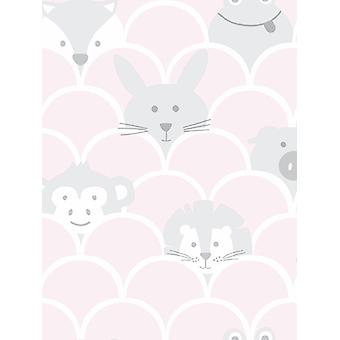 Over the Rainbow Peek a Boo Animals Wallpaper Pink / Grigio Holden 91031