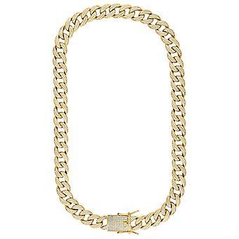 925 sterling sølv gul tone mens CZ cubic zirconia simulert diamant miami fortauskant kjeden 14mm 20 tommers smykker gaver til