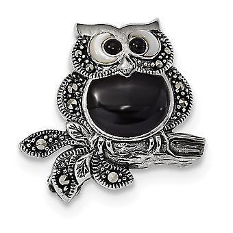 21mm 925 Sterling Silver Marcasite Simulated Mother of Pearl Black Agate Owl Pin Jewelry Gifts for Women