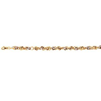 925 Sterling Silver Yellow and Two tone Interlock Rolo Link Wire Link Bracelet 7.75 Inch Jewelry Gifts for Women