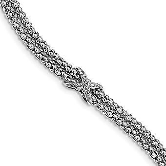 2,9 mm 925 Sterling Silber Rhodium plattiert CZ Zirkonia simuliert Diamant Infinity Multi Strang Armband 7,25 Zoll Je