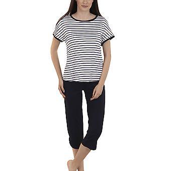 Lisca 23268-WB Women's Francis White-Blue Striped Pyjama Set