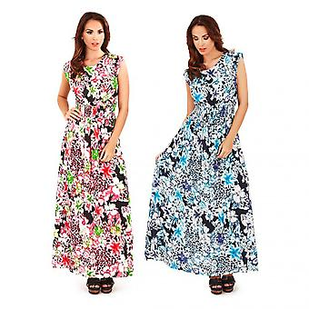 Pistachio Women's Floral Print Cap Sleeve Long Maxi Dress