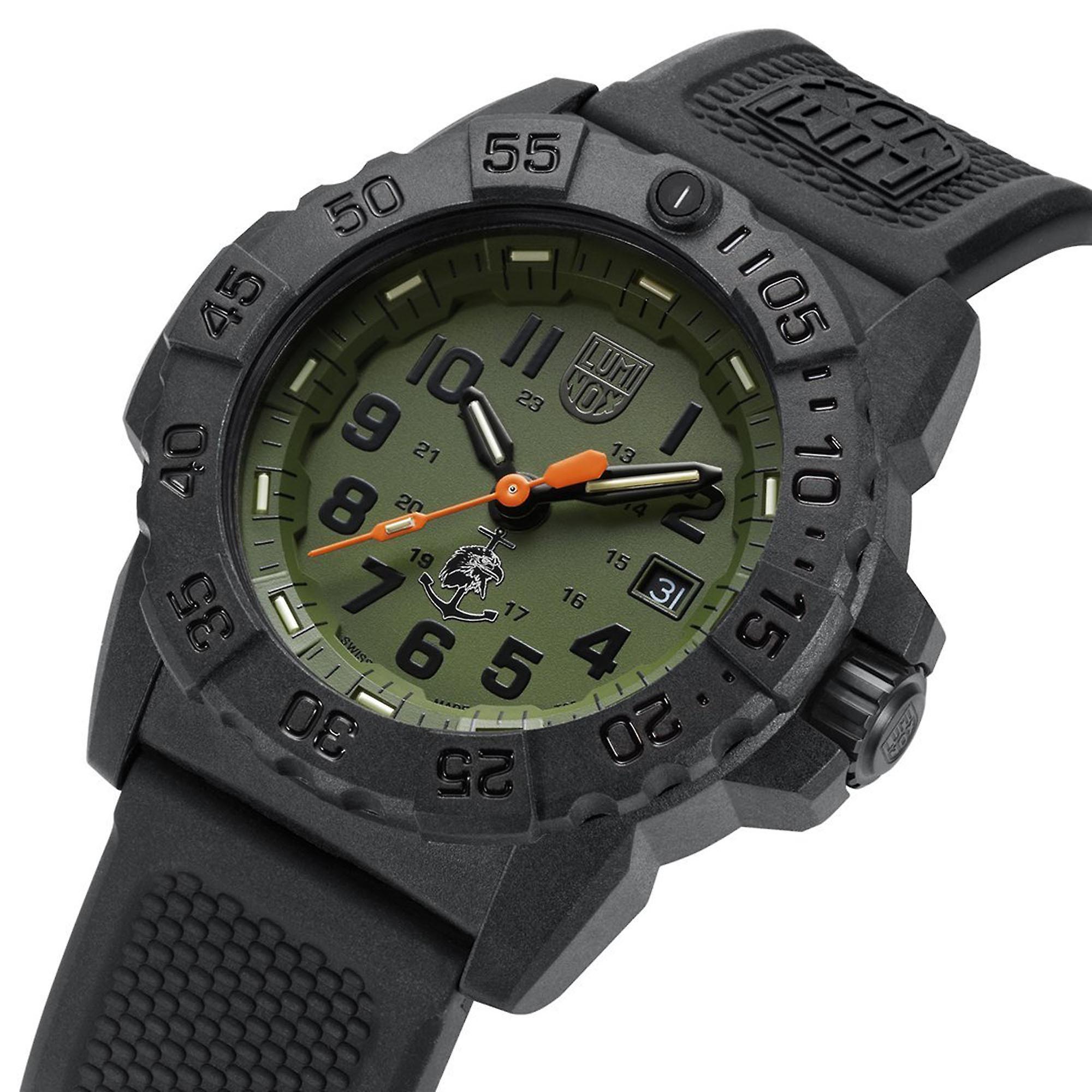 Luminox Navy SEAL Quartz Green Dial Black Rubber Strap With Extra Strap Men's Watch Set XS.3517.NQ.SET RRP £419