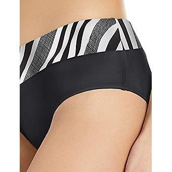 next Women's Midrise Surplice Swimsuit Bikini Bottom, Pipeline Black, Large