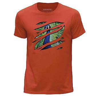 STUFF4 Men's Round Neck T-Shirt/Large Rip/Peacock/Zoo Animal/Orange