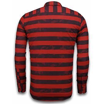 Italian shirts-Slim Fit shirt-Blouse Big Stripe Camouflage Pattern-Red