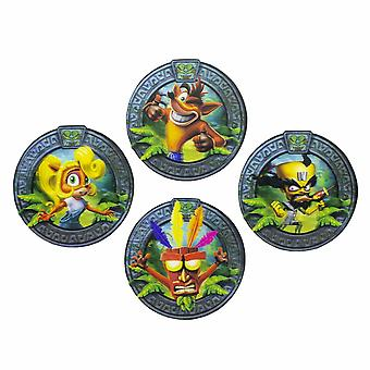 Crash Bandicoot 3D Drinks Coasters Place Mats Set Non Slip Circle Gaming Retro