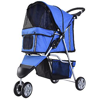 PawHut Pet Travel Stroller Cat Dog Pushchair Trolley Puppy Jogger Carrier Three Wheels (Blue)