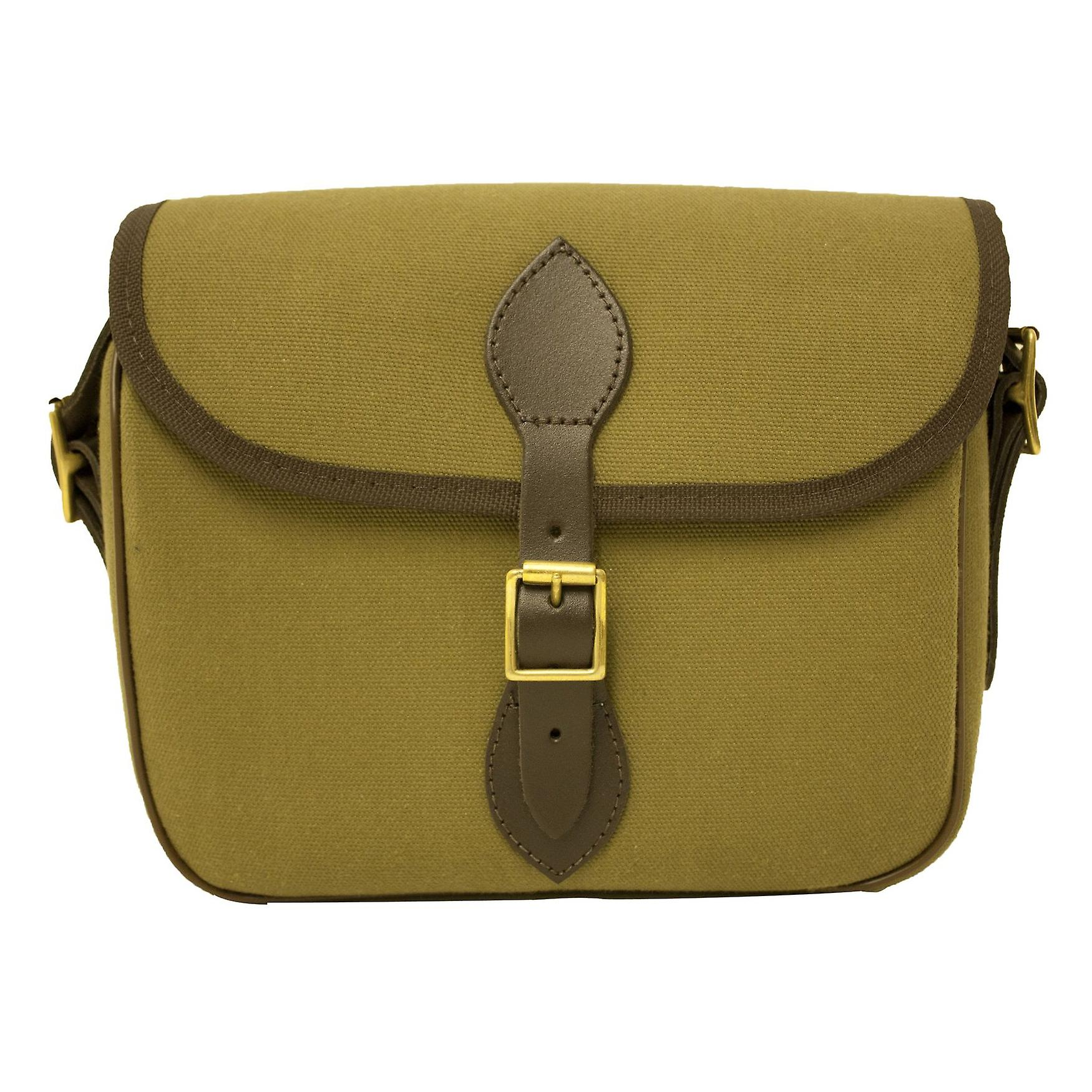 BISLEY quickload cartridge bag 100 capacity - canvas with leather and brass