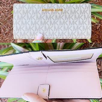 مايكل كورس طائرة مجموعة السفر ضئيلة bifold محفظة جلدية الفانيليا MK زهر الوردي