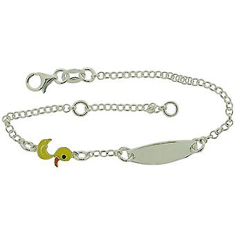 TOC Girls Sterling Silver Yellow Duck Charm ID Bracelet 6+1