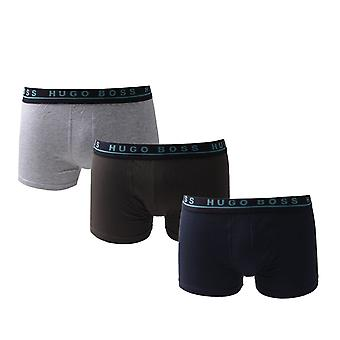 BOSS Three Pack Contrast Waistband Grey, Charcoal and Navy Trunks