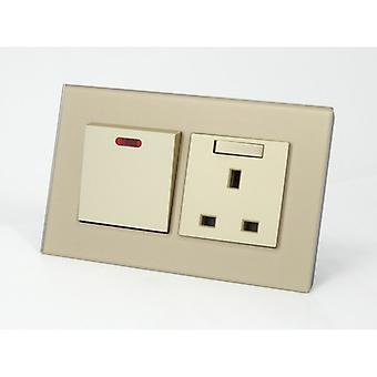 I LumoS AS Luxury Gold Crystal Glass Double 45A Switch with Switched 13A UK Socket