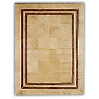 Rugs -Patchwork Leather Cubed Cowhide - SR1 Beige Brown