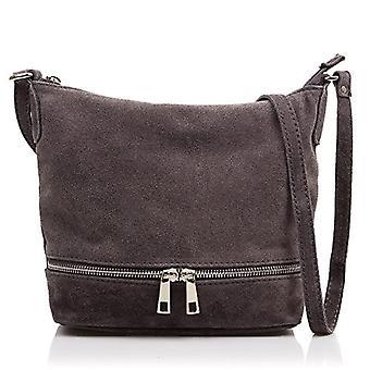 FIRENZE ARTEGIANI Real Leather Women's Bag. Genuine suede leather bag. Front pocket. Shoulder bag. Shoulder bag Made in ITALY. REAL ITALIAN PELLE 24x16x9 cm. Color: DARK GRAY