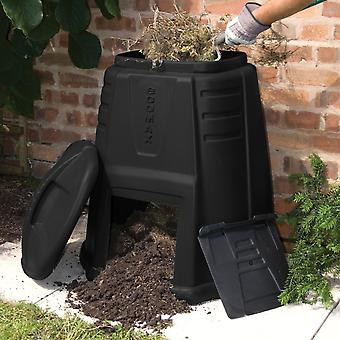 Charles Bentley Ward 220L Ecomax Environmental Garden Composter, Compost Bin With Hatch & Lockable Lid, Hard Wearing - Black