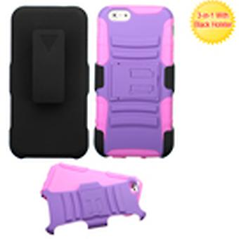 Asmyna Armor Stand Case with Holster pour iPhone 6/6S - Purple/Electric Pink