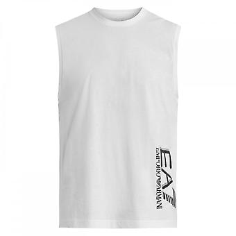 EA7 av Emporio Armani Bomull Trykt Logo Hvit Tank Top