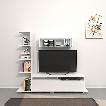 Mobil Argo Hvid farve TV Dør i Melaminic Chip 150x28.5x125 cm, 70x20x20 cm