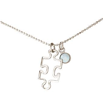 Kette Puzzle Anhänger 925 Silber: Schüler, Lehrer. Autismus Symbol, CHALCEDON