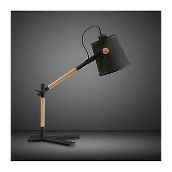 Nordica Table Lamp With Black Lampshade 1 E27 Bulb, Matt Black / Beech With Black Lampshade