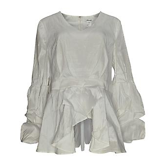 Masseys Women's Top Tier-Sleeved Blouse Solid White